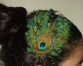 NATURALPEACOCK -  Peacock Feather Headband Or Fascinator Hair Clip with Swarovski Crystals, Weddings, Bridesmaids Set, For Her, Hand Made