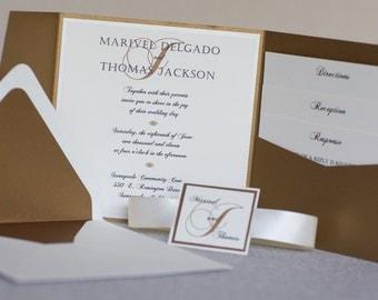 Elegant Wedding Invitation - Gold Wedding Invite - Square Pocketfold Wedding Invitation - Monogram Invitation - Wedding Invitation Sample