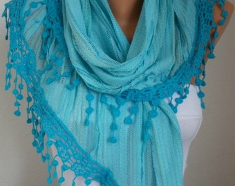 Blue Cotton Scarf, Spring Summer Scarf, Bridesmaid Gift Shawl Cowl Gift Ideas For Her Women Fashion Accessories Graduation Gift
