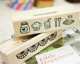1 Pcs Wooden Rubber Stamp - Vintage Style -Lace Stamps