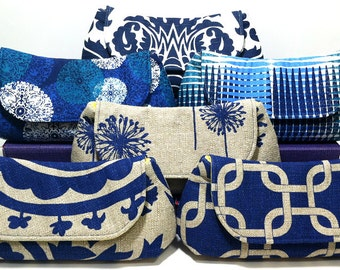 Bridesmaid Clutches Wedding Party Clutches Bridal Clutch Choose Your Fabric Navy Blue Set of 4