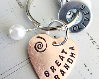 GREAT GRANDMA Gift Personalized Christmas - Hand Stamped Copper Heart Key Chain - Great Grandparent Birthday - Hardware Washers and Bead
