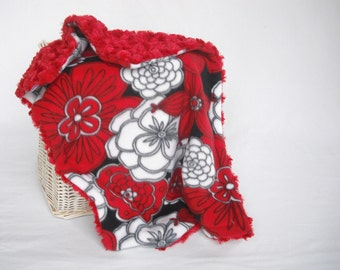 Flower Travel Blanket with Red Minky Swirl - Flower Lovey - Baby Girl Security Blanket - Security Lovey - Flower Security Blanket - Minky