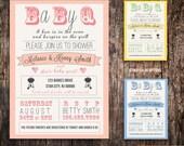 couples Baby Shower BBQ  invitation - boy girl gender neutral