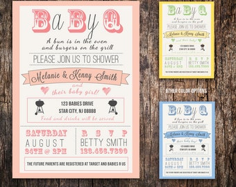 couples Baby Shower BBQ  invitation - boy girl gender neutral