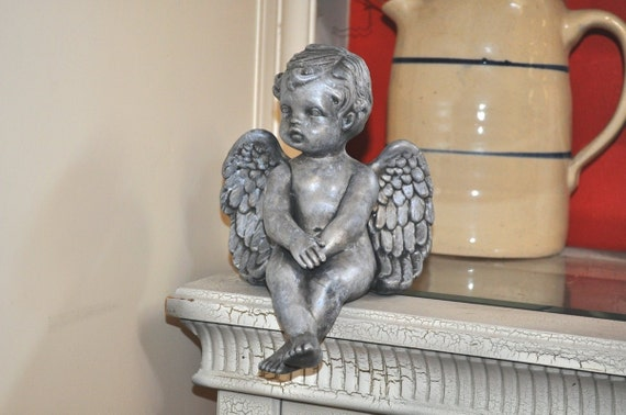 Silver Ceramic Cherub Angel Upcycled Painted in a Marbled Antiqued Pewter Shelf Sitter