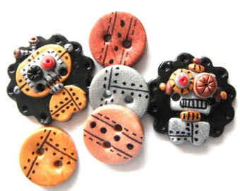 Button Metal Bots handmade polymer clay buttons ( 6 )