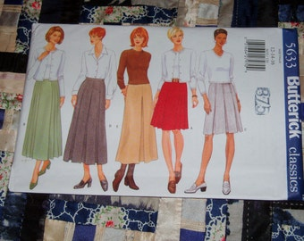 1998 Butterick Pattern 5633 for Misses Petite Skirt Size 12, 14, 16 Uncut, Factory Folds