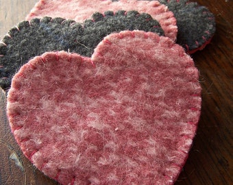 Heart Shaped Coasters- Reclaimed Wool Felt- Pink and Gray