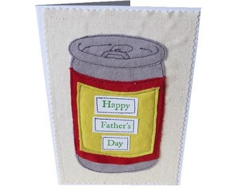 appliqued Father's day beer can card textile art