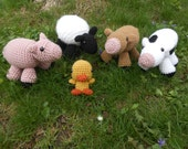Hand Crocheted Stuffed Farm Animals Set - Sheep, Pig, Duck/Chick, & Two Cows