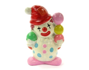Vintage Antique Figurine Carnival Chalk Clown Bank 1940s / 1950s Ceramic Chalkware / Antique Collectible