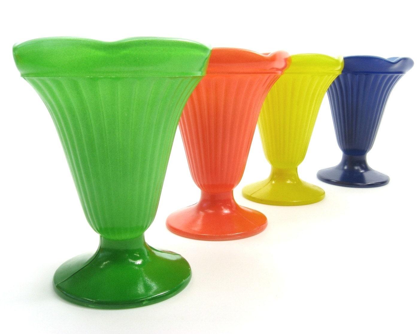 antique primary color ice cream sundae parfait cups painted. Black Bedroom Furniture Sets. Home Design Ideas