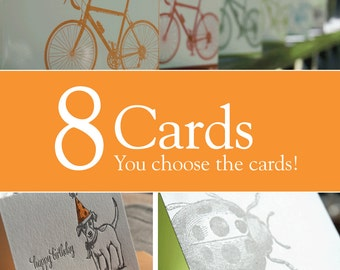 Pick any 8 letterpress printed cards, Value pack, eco-friendly