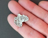 8 Africa Charms Antique  Silver Tone Great Map Details - SC1984