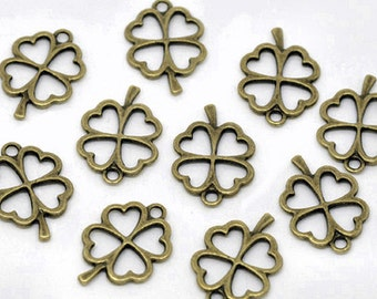8 Four Leaf Clover Charms Antique Bronze Tone 2 Sided Lucky Token - BC444
