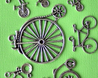 Bicycle Charm Collection Antique  Silver Tone 7 Charms - COL186