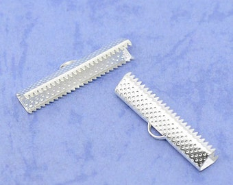 50 Silver Plated Ribbon End Cap Crimp Beads 30 x 7.5mm - FD56