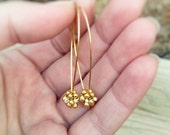 Golden drop dangle earrings.  Nature inspired jewelry. Thanksgiving gift