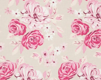 Fabric by the Yard, Bouquet in Khaki, Bouquet, Annette Tatum, Cotton Fabric, One Yard