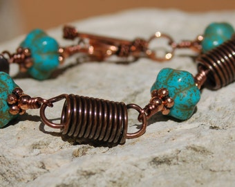 Turquoise Style Copper Bracelet and Earrings Set..........item number 5313