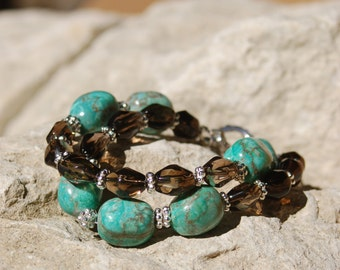 Turquoise Style and Smoky Quartz Bracelet and Earrings .....item number 5315