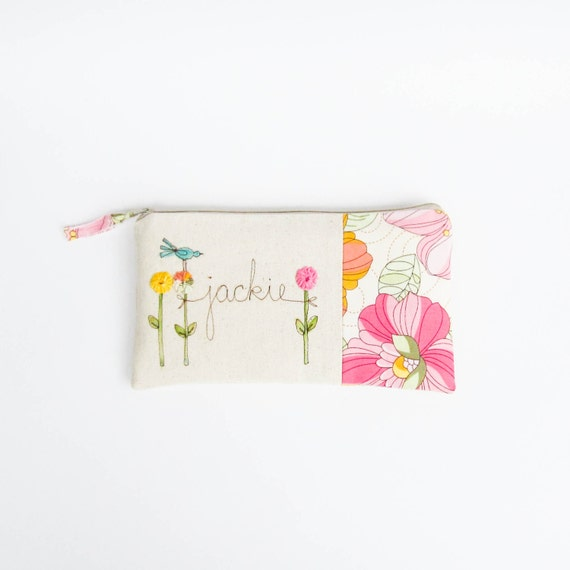 Mother of the Bride Gift Clutch, Gift for Mom, Floral Personalized Bridal Accessory, Pink and Yellow Clutch Purse, MADE TO ORDER