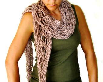 Hand Knitted Womens Scarf in Beige Buff Camel Tan