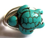 Turtle Stone Wire Wrapped Ring Tortoise Fashion Jewelry