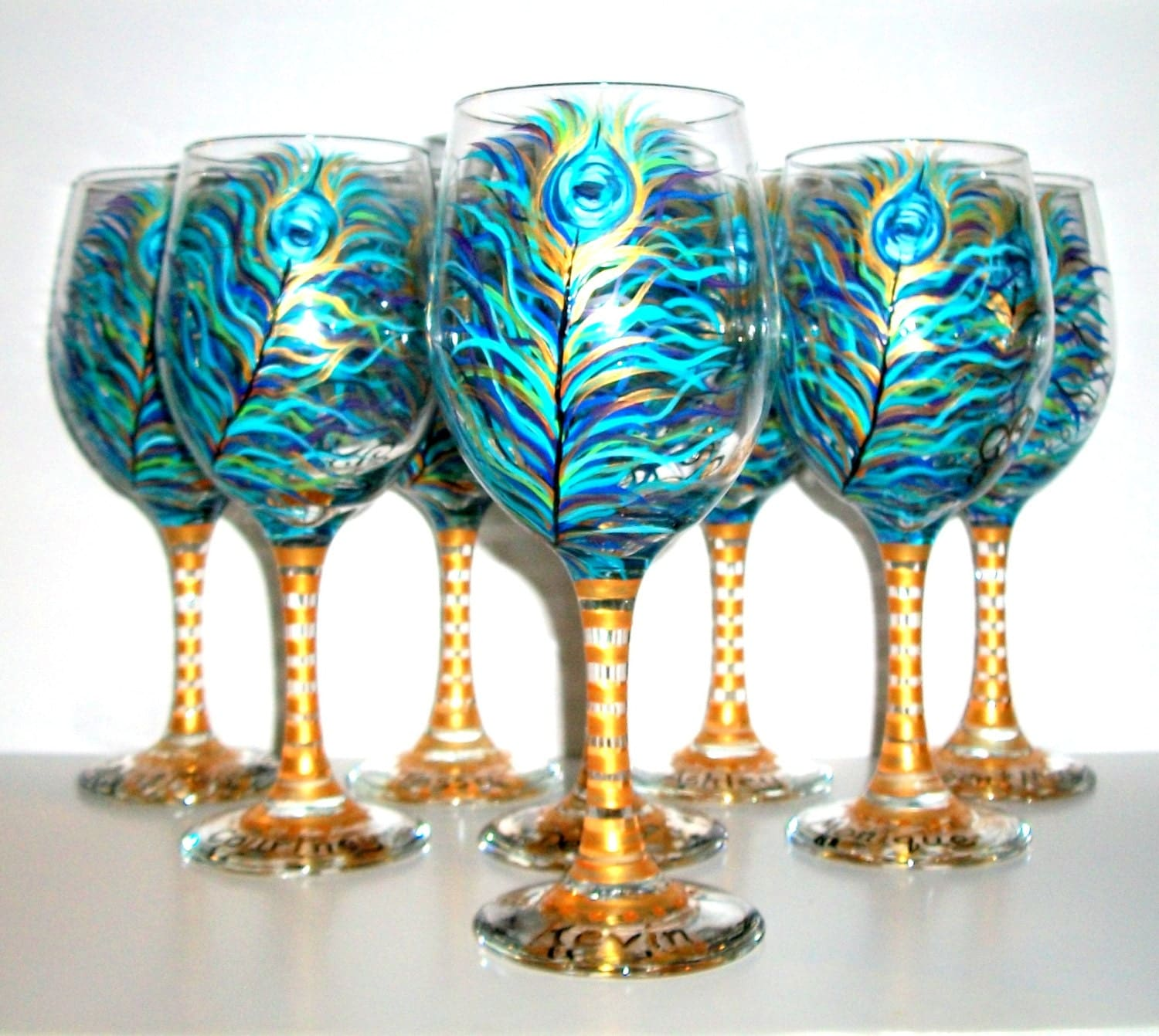 Peacock feather bridesmaids wine glasses hand painted set of 8 Images of painted wine glasses