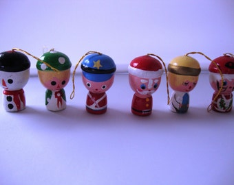 Set of (6) VintageTiny Hand Painted Wooden Christmas Tree Ornaments