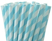 Baby Blue and White Striped Paper Straws - Pkg of 25