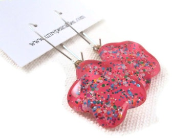 Candy Shop Pink Garden Party Glitter Nail Polish Dangle Earrings, Sparkly Confetti Pastel Flower Earrings, Drop Nail Polish Jewelry