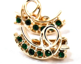 Vintage Green Rhinestone Clip Earrings Gold Tone 1960s Costume Jewelry