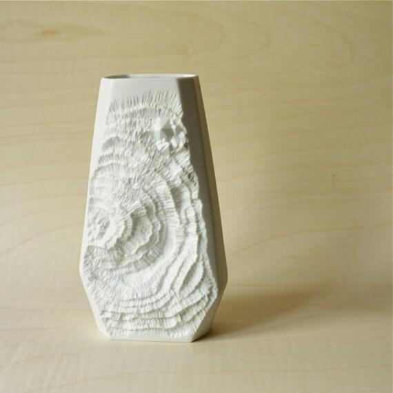 Op Art White Matte German Porcelain Faceted Vase Fossil Crystals by AK Kaiser
