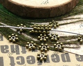 100 pcs 7mm Antique Brass filigree snow flake beads cap,loose metal beads,spacers finding beads