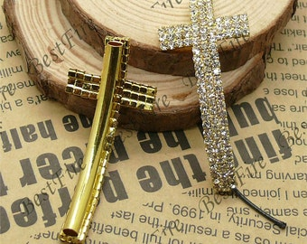 5pcs of 23x53mm Gold tone Sideways Cross Rhinestone Connector,Cross Bracelet Connector,bangle findings