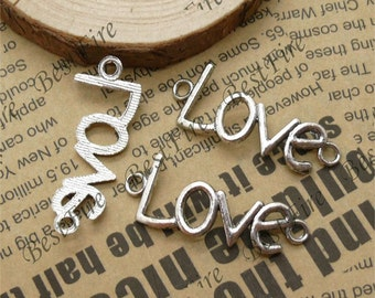 20 pcs 12x40mm  Antique silver Curved Love Word Bracelet  Connectors Pendant Charms with 2 Rings