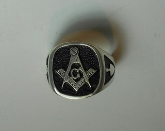 Men's Masonic Rings in Sterling Silver or Gold