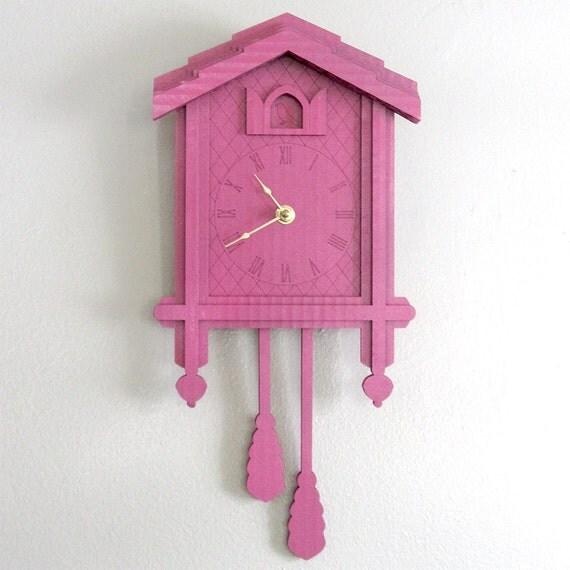 Pink Cuckoo Clock - Color Cardboard Eco Wall Decor