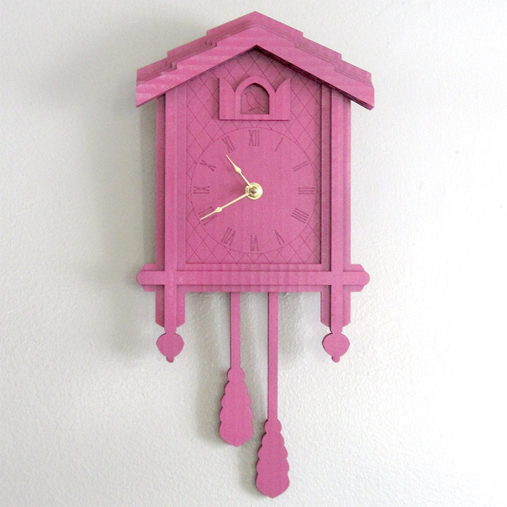 Pink cuckoo clock color cardboard eco wall decor - Colorful cuckoo clock ...