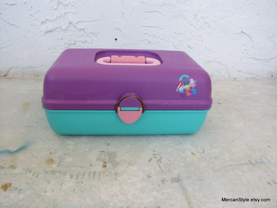 Caboodles Purple Turquoise Pink 80s Cosmetics case