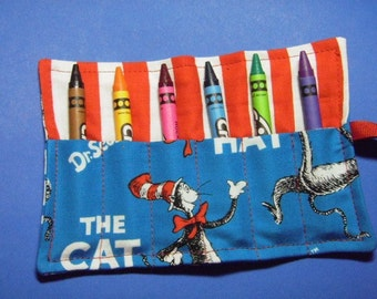 6-Count Crayon Roll Up Holder Keeper - Cat In The Hat Fabric