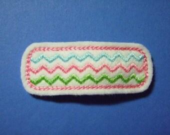 Zig Zag Rectangular Felt Snap Clip - Hot Pink/Blue/Green - For Toddler Girl Teen