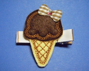Chocolate Ice Cream Cone Feltie Hair Clip Clippie - For Infant Toddler Girl