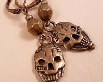 Skull Earrings Skull Jewelry Brass Jewelry Beaded Jewelry Bronze Jewlery Beaded Earrings Metal Earrings Metal Jewelry