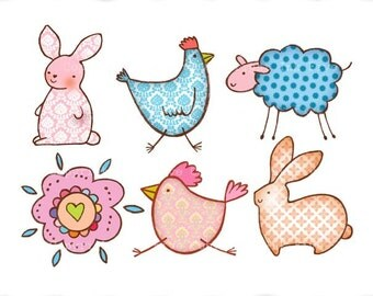Digital Clip art Spring Easter Doodles. Cute digital stumps animals clipart images for scrapbooking, invitations cards. Sweet clip art.