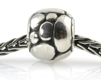 Oval Bubbles Sterling Slider Big Hole Bead-X0195