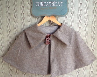 wool  Strolling Capelet with pointed collar, handmade wooden buttons-lined with brown cotton