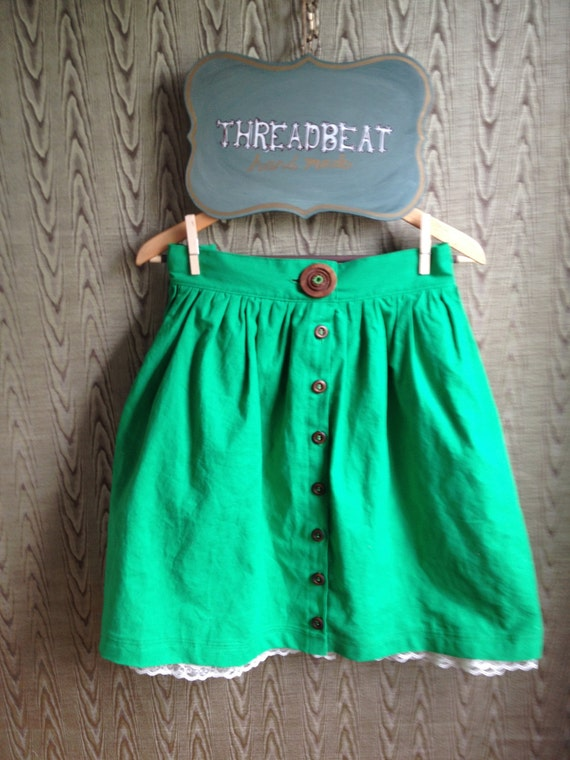 Linen picnic skirt with pockets and petticoat- custom order to your size KELLY GREEN other colors available